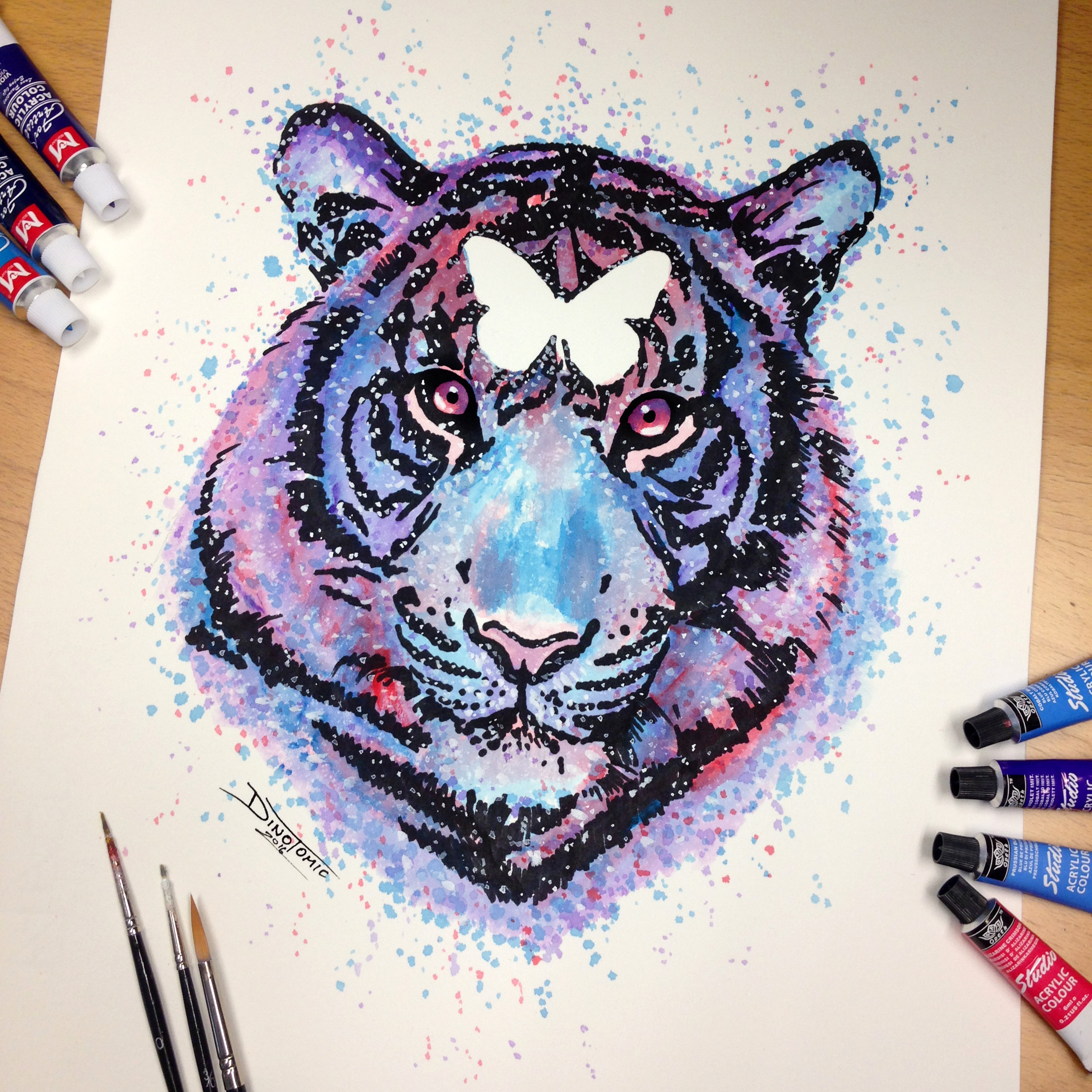 Tiger Splatter Drawing by AtomiccircuS