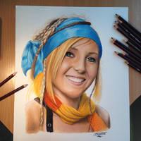 Pencil Drawing of Jessica Nigri as Rikku by AtomiccircuS