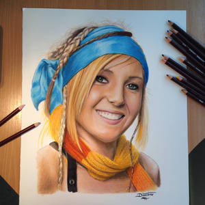 Pencil Drawing of Jessica Nigri as Rikku