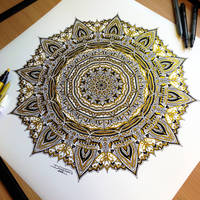 Golden mandala PRINT! by AtomiccircuS