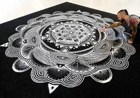 Large Salt Mandala 4X4 meters by AtomiccircuS