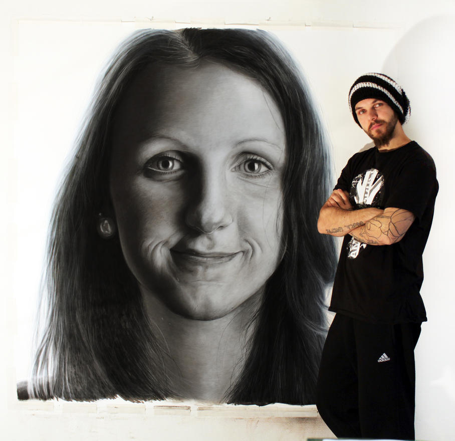 Large pencil drawing of my sister by AtomiccircuS