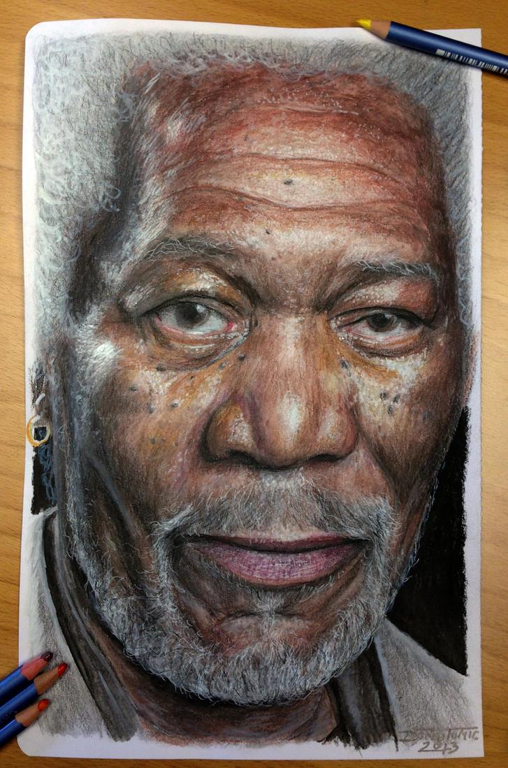 Morgan Freeman old drawing by AtomiccircuS