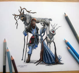Creepyfied Frozen drawing