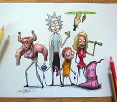 Creepyfied Rick and Morty Drawing