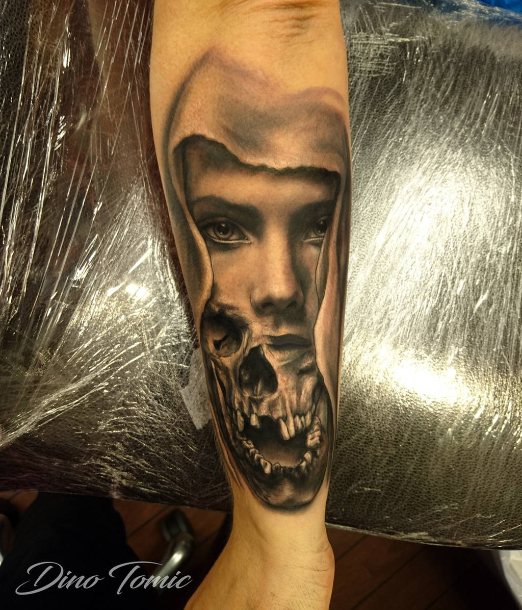 Girl skull tattoo by AtomiccircuS