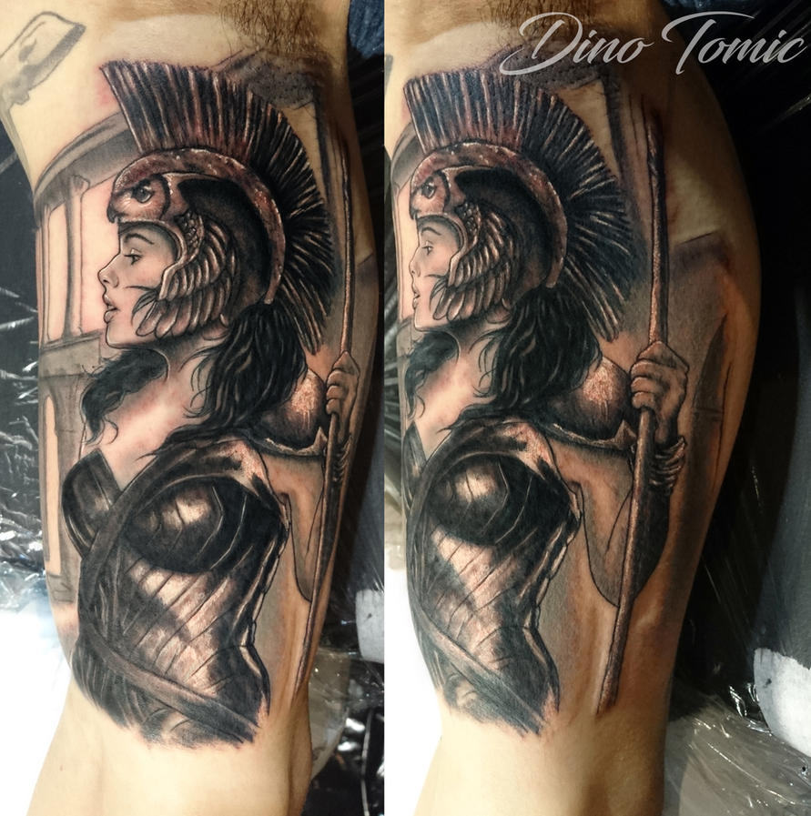 Athena tattoo done in New York by AtomiccircuS