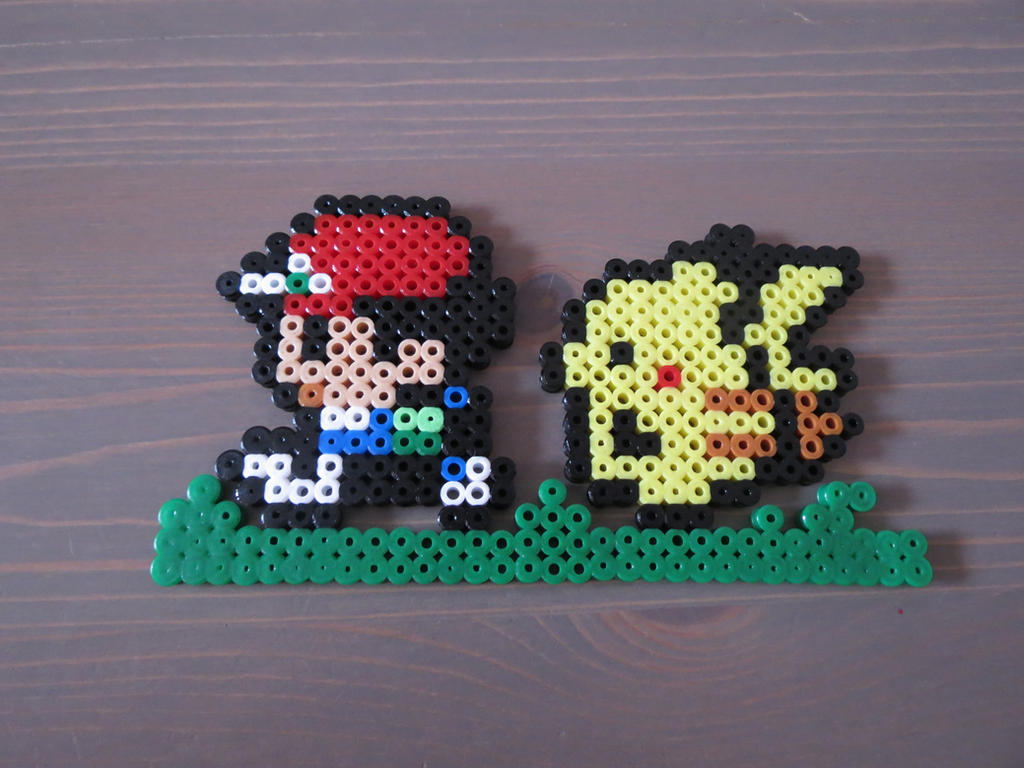 Ash and pikachu fuse beads by deadly grape on deviantart - Hama beads cuadros ...