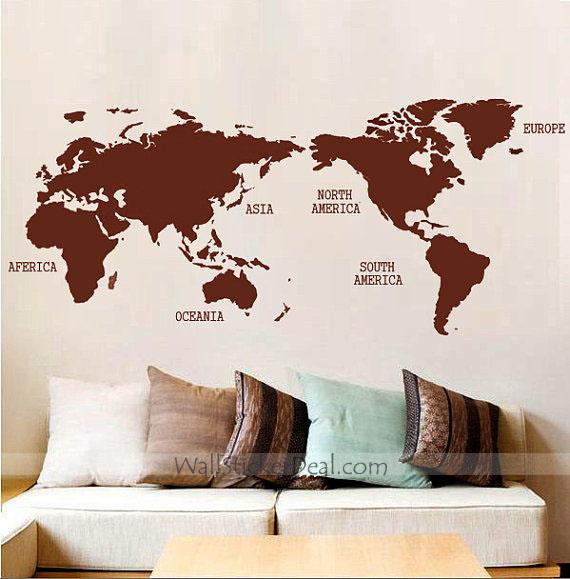 World Map Wall Sticker By Amandabetty ...