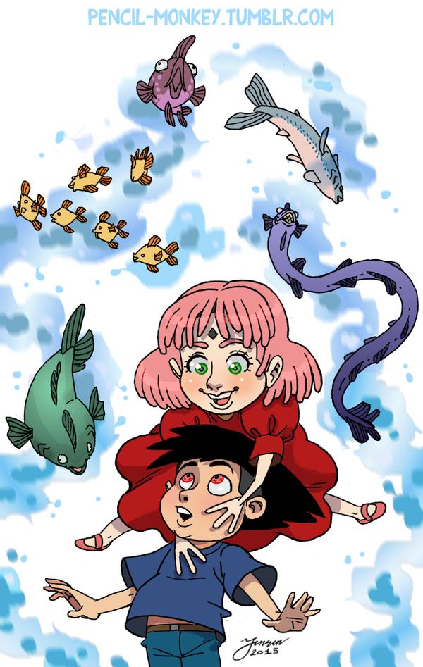 SasuSaku Ponyo Crossover by mokkurkalfe