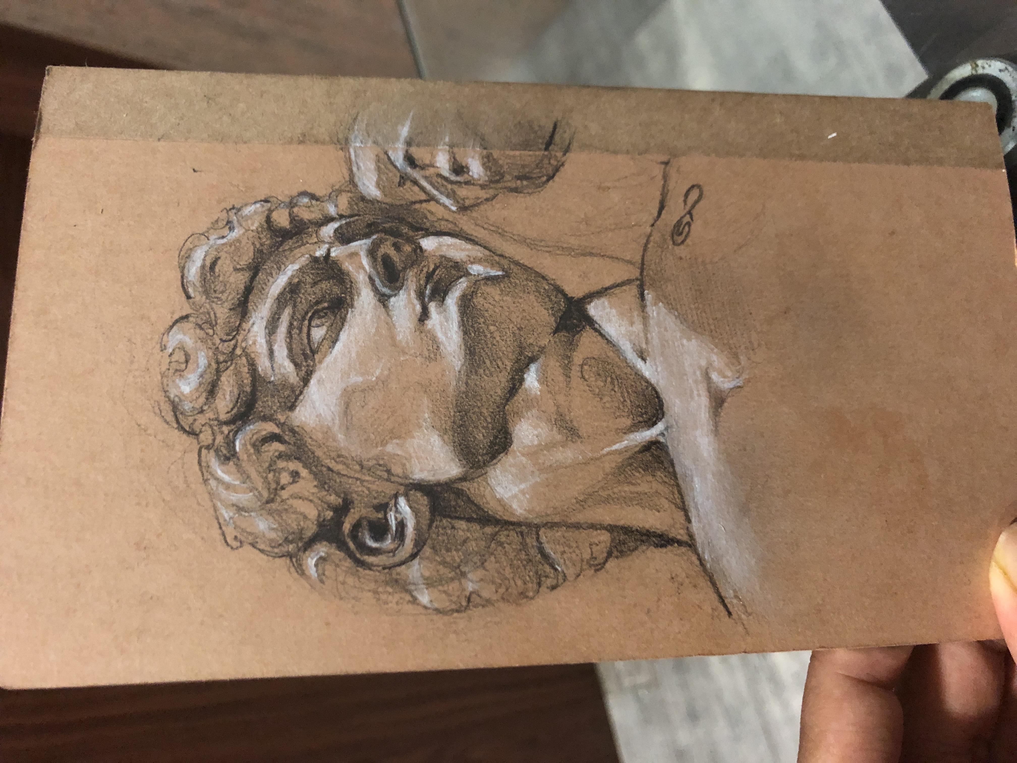 Graphite study of David by Michelangelo