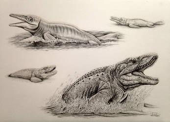 Super Retro 2 (Ictiosaurus, Mosasaurus) by Israel-C