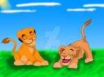 Simba and Nala in the Sun