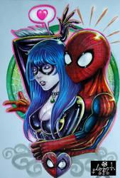 Black cat and spiderman by vampire-stars