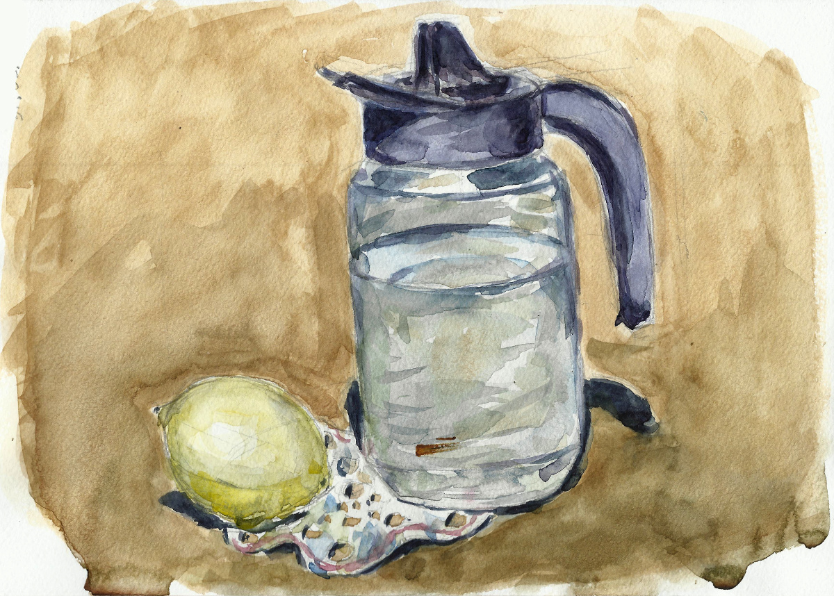Stilllife with pitcher, fruit, and cutwork by tulvit