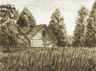 A house, grisaille by tulvit