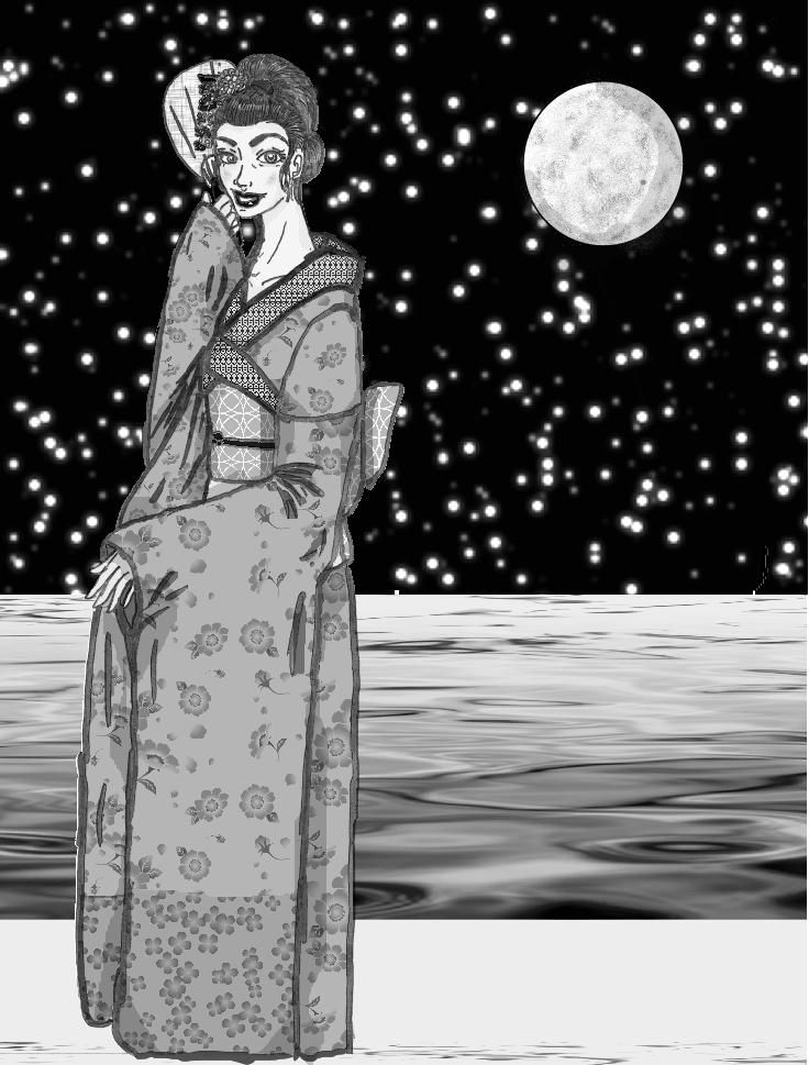 Shadowcat Wearing a Kimono by jennamimi