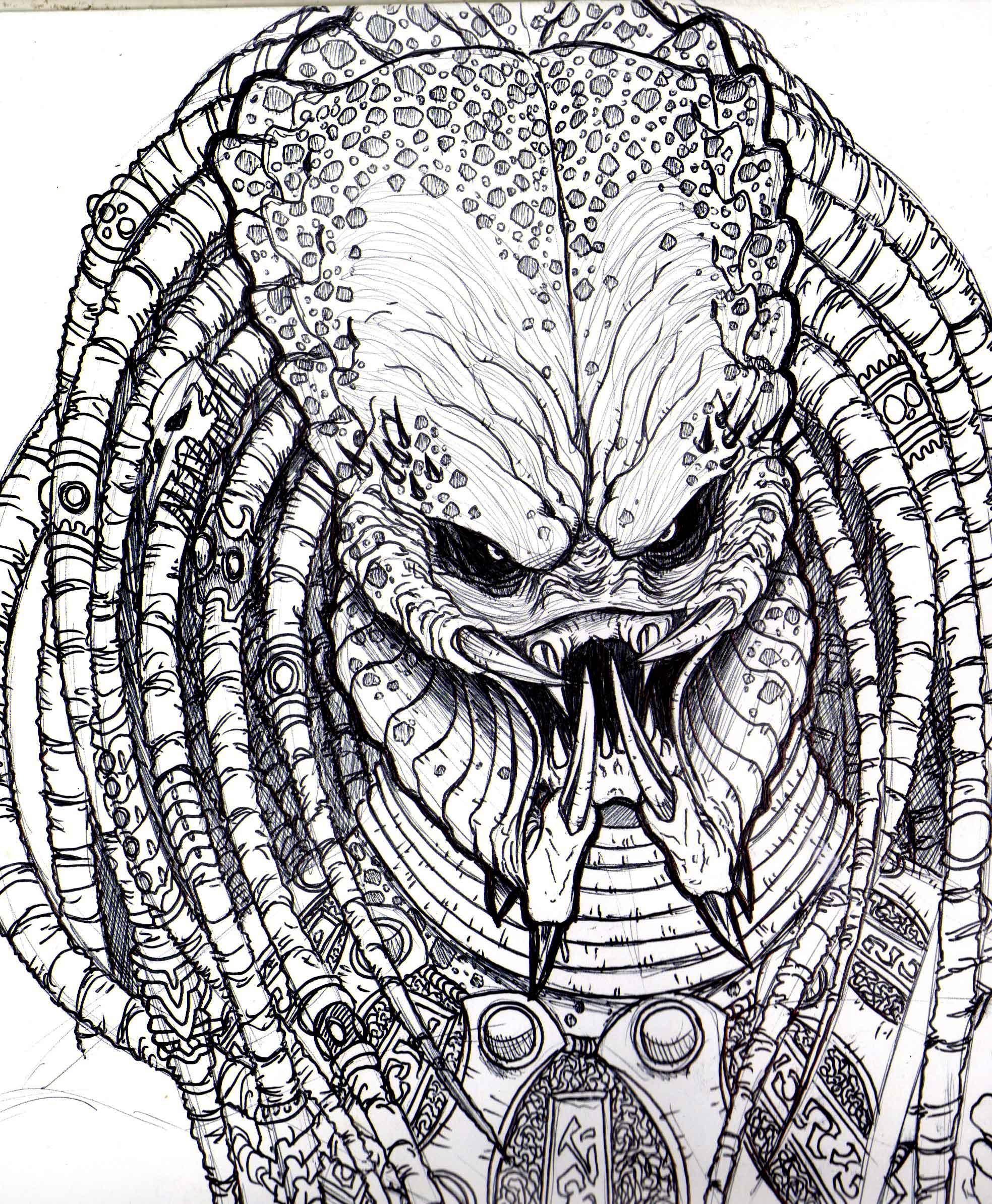 Predator Face Drawing