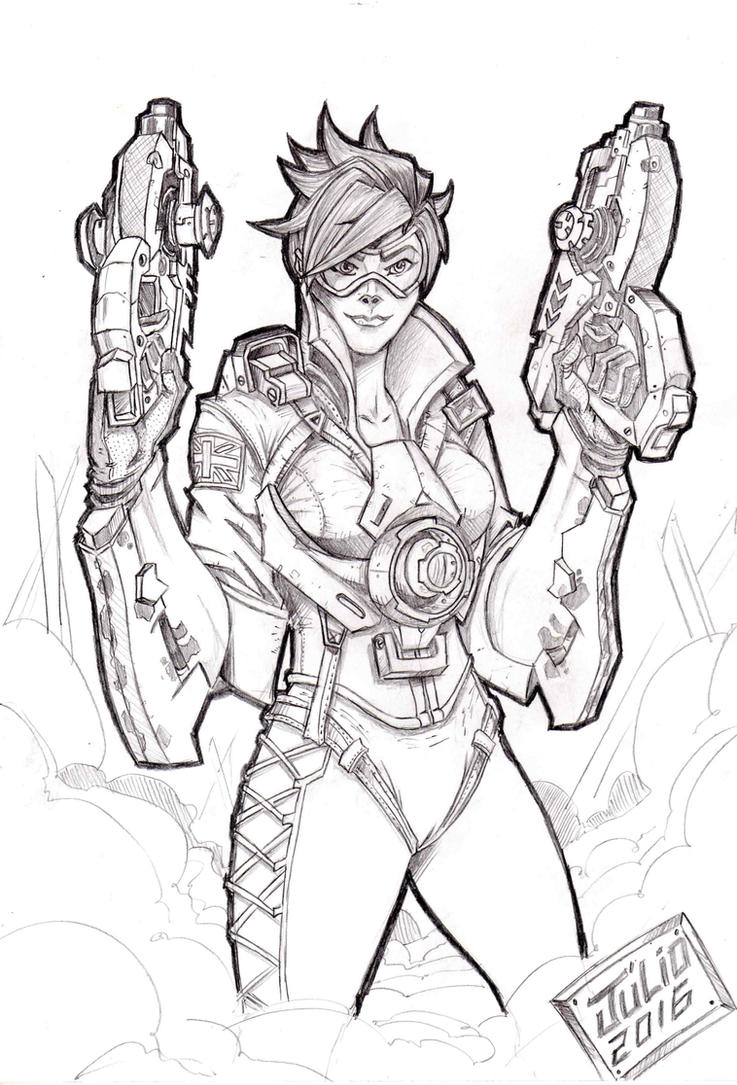 Overwatch tracer by vandalocomics on deviantart for Overwatch genji coloring pages