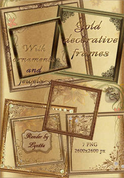 Gold  decorative frames with ornaments and jewels