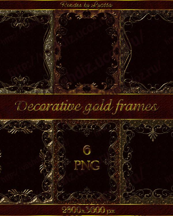 Patterned decorative gold frames by Lyotta on DeviantArt
