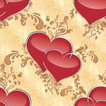 seamless texture with hearts and ornaments