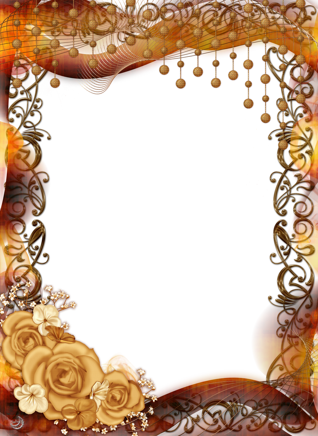 Ornaments Frame Png Frame With Roses And Ornaments
