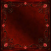 Frame with a red decor and gems by Lyotta