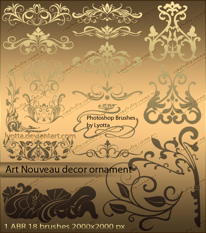 Brushes art nouveau decor ornament by lyotta on deviantart for Art nouveau decoration