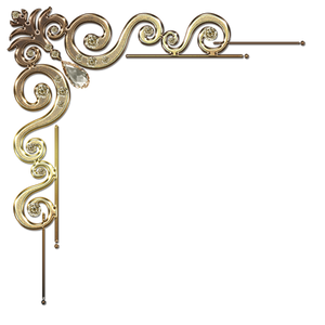 Decorative corner with citrine in gold