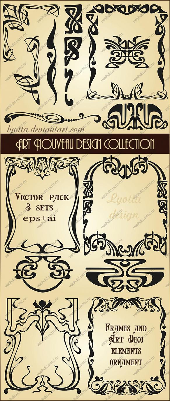 Art Nouveau Design Collection Vector Set By Lyotta On