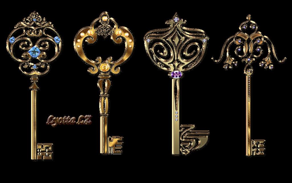 Gold Keys With Stones Lyotta by Lyotta