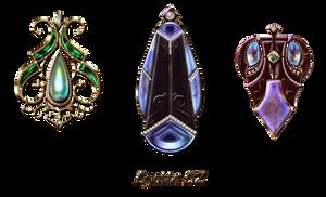 pendants, earrings