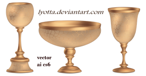 Antique bronze vase glass bowl 3D