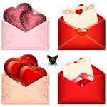 Pink and red envelope with hearts