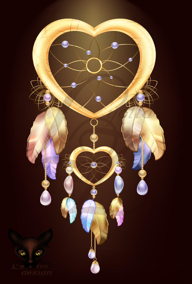 Dream catcher heart jewelry with feathers by Lyotta