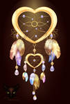 Dream catcher heart jewelry with feathers