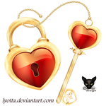 Golden key heart with lock icon
