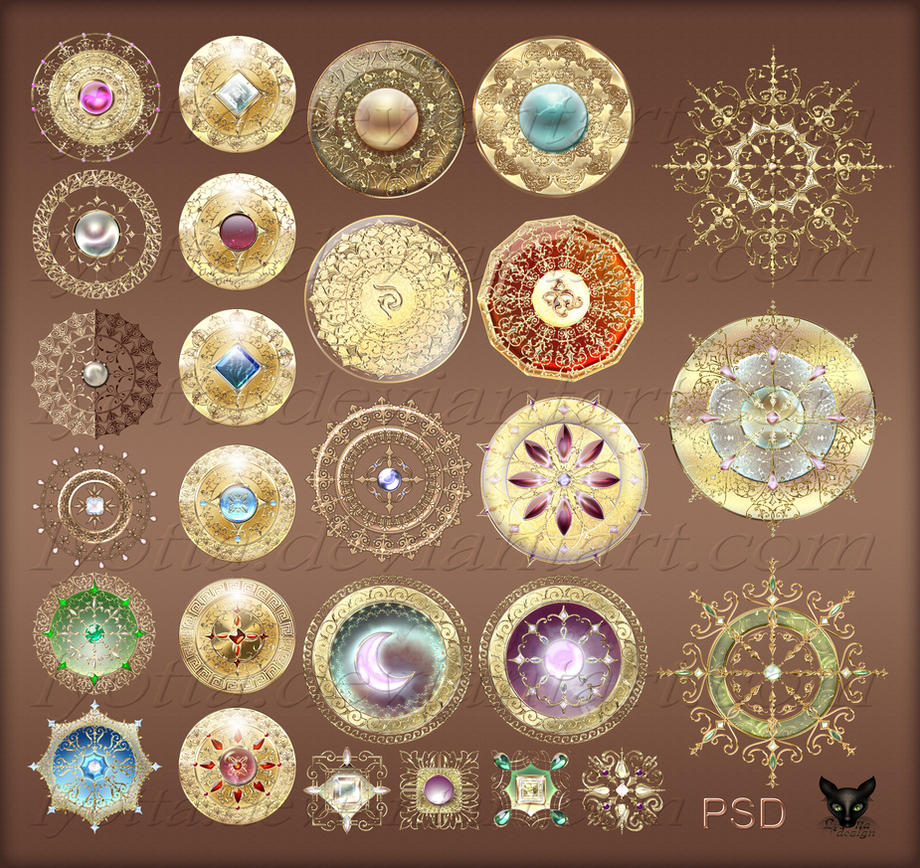 Magic items gold medals with jewelry by Lyotta on DeviantArt
