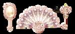 Ladys accessories icons Mirror, wind, key by Lyotta
