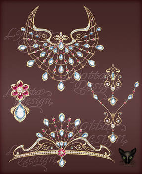 Jewelry DesignSet of gold necklace diadem pendants