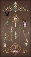 Jewelry Design Gold elements diadems and keys