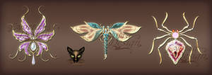 Jewelry design insects with precious stones