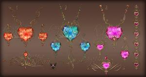 Jewelry design pendants earrings hearts in gold
