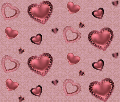 Pink seamless pattern with hearts and ornament by Lyotta