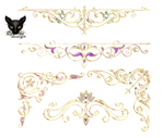 Golden curbs with jewelry elements decoration