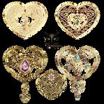 Golden openwork hearts pendant jewelry ornaments