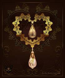 Golden Decor Heart 003 by Lyotta