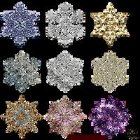Snowflakes Gold Decor Elements 01