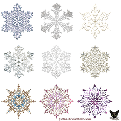Snowflakes Gold Decor Elements 01